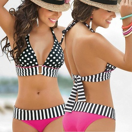 Fashion Polka Dot Printed Split Bikini Swimsuit  NSLUT53578