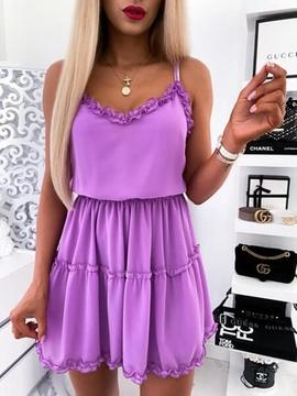 Solid Color Pleated Sleeveless Sling Waist Dress NSLIB53579