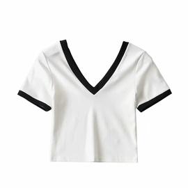 V-neck Short Slim Sports T-shirt  NSAC47405