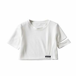 Short-sleeved Fold Letter Short Top NSAC47407