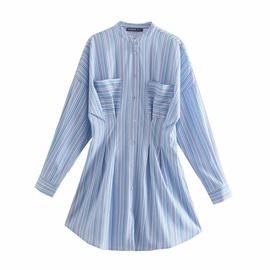 Retro Striped Waist Slim Shirt Dress NSAM47420