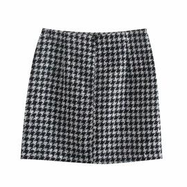 High Waist Plaid Texture Mini Skirt  NSAM47422