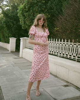 Cherry Print Short-sleeved Dress NSAM47427