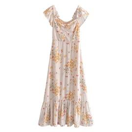 Spring Retro Printed Sexy Strapless Dress NSAM47434