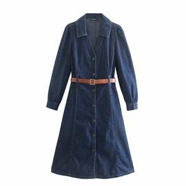 Retro Slim Long Sleeve Denim Skirt NSAM47447