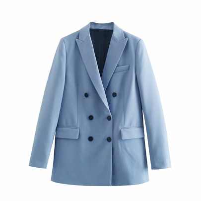 Lapel Double-breasted Long-sleeved Blazer  NSAM47448