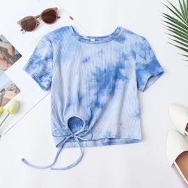 Tie-dye Drawstring Short-sleeved T-shirt  NSAM47461