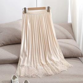 Lace Stitching High Waist Pleated Skirt  NSAM47476