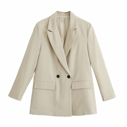 Loose-collar Double-breasted Blazer  NSAM47477