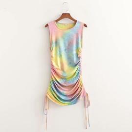 Spring Tie-dye Drawstring Slim Dress NSAM47486