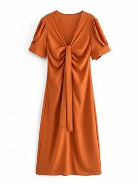 Summer V-neck Short-sleeved Dress NSAM47492