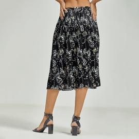 Print Chiffon Elastic High Waist Pleated Skirt  NSJR47510