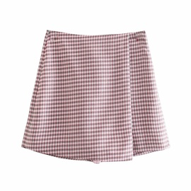 Fashion Houndstooth Casual Shorts Skirt NSAM47421