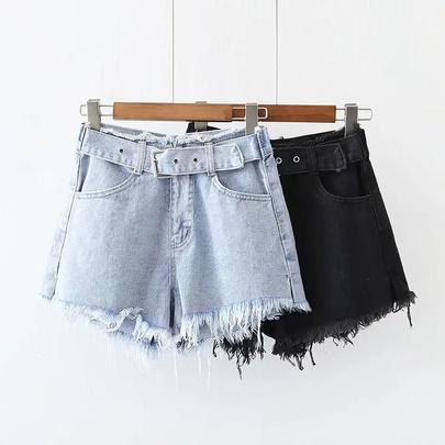 Solid Color Irregular Trim Denim Shorts NSHS50908