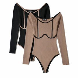 Stitching Contrast Color Long-sleeved Jumpsuit  NSHS50915