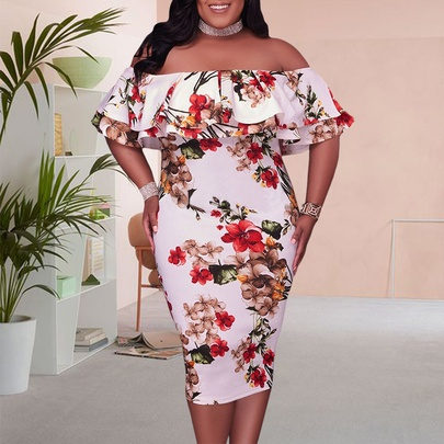 Plus Size Printing Sexy Off-shoulder Dress  NSSI50917