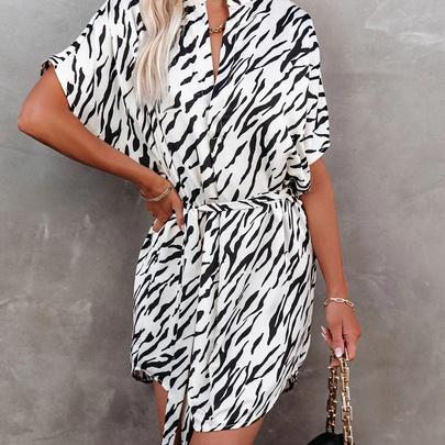 Zebra Print Irregular Loose Fashion Dress NSYD50934