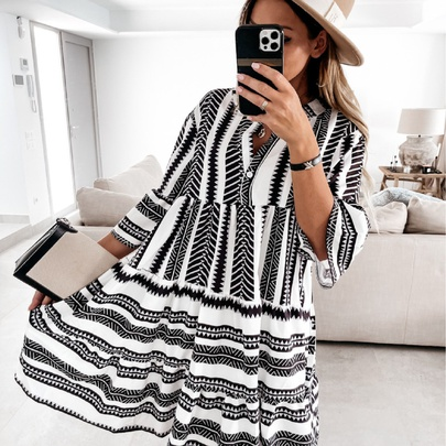 V-neck Printed Loose Bohemian Dress  NSYD50935