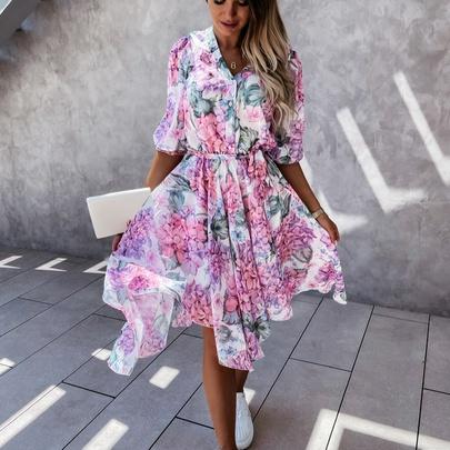 V-neck Waist Belt Printing Big Swing Dress NSYD50936