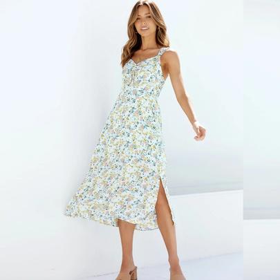 V-neck Backless Suspender Printed Mid-length Dress  NSYD50938