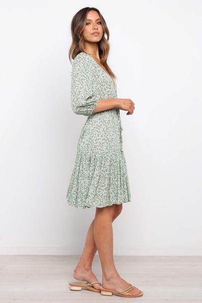 Elastic Waist Tie-up Print Big Swing Dress NSYD50940