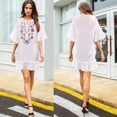 Round Neck Fashion Loose Printed Dress NSSA50969