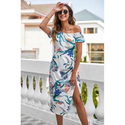 Fashion Printed Strapless Split Dress NSSA50974