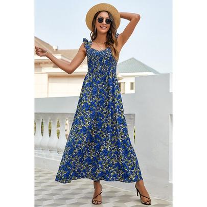 Fashion Printed Suspender Long Dress NSSA50975