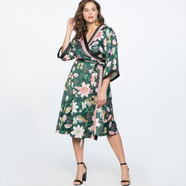 Lace-up Printed Plus Size Dress NSSA50977