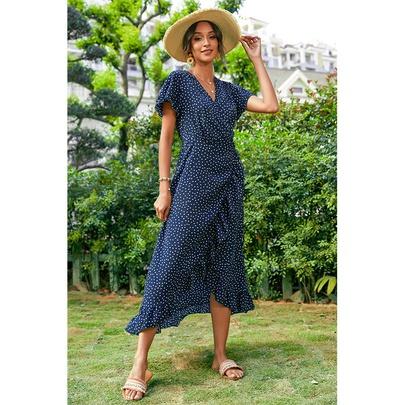 Ruffled Short-sleeved V-neck Polka-dot Dress NSSA50981