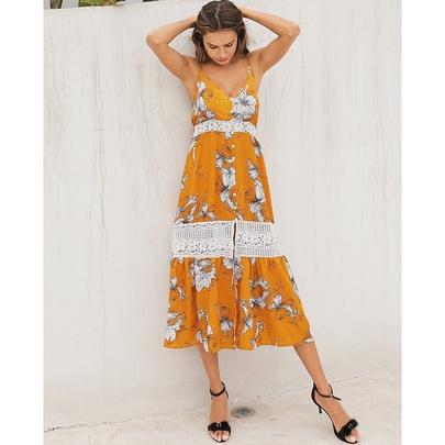 Fashion V-neck Lace Sling Long Dress NSSA50984
