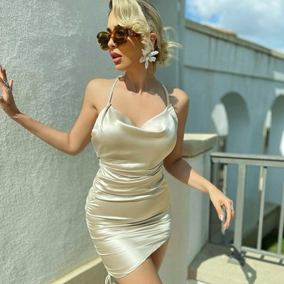 Sling Folds Sexy Big Backless Dress NSHLJ51023