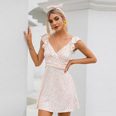 V-neck Polka Dot Chiffon Dress NSWX51033