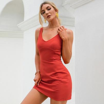 High Waist Lace-up Sling Irregular Dress   NSWX51035