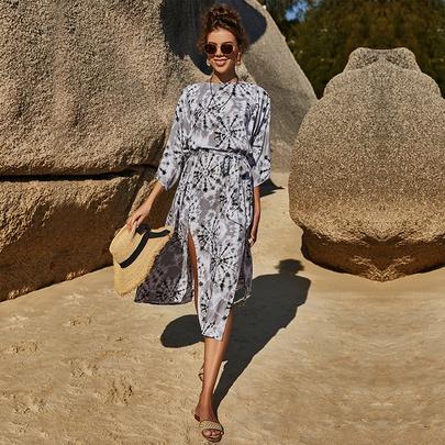 Large Swing Printed Mid-length Dress NSLM51048