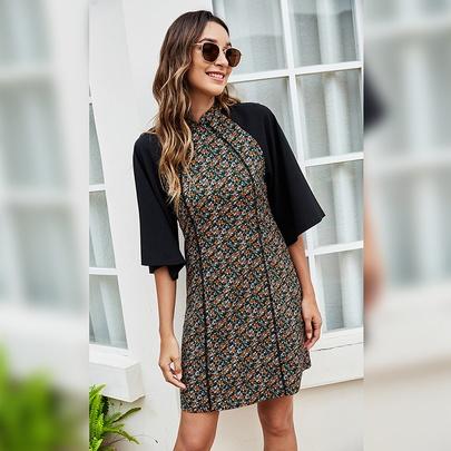 Stand-up Collar Floral Print Splicing Dress  NSLM51050