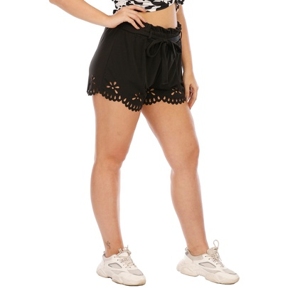 Plus Size Hollow Burnt Lace Elastic Waist Shorts NSOY51056