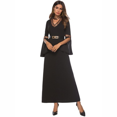 Leopard Print Stitching Slit Flared Sleeve Dress  NSCX51210