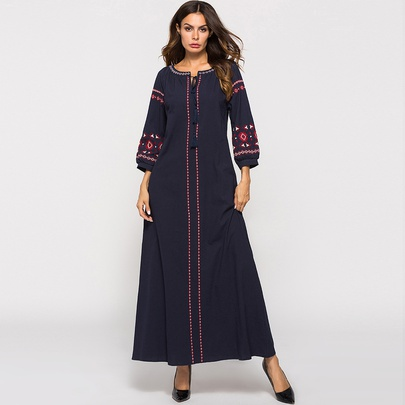 Embroidery Tassel Cotton And Linen Long Dress NSCX51212