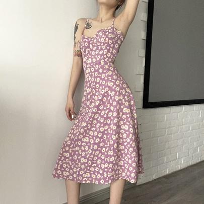Halter Hem Split Mid-length Sling Dress  NSMEI51220