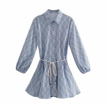 Long-sleeves Belt Printing Shirt Dress  NSAM51229