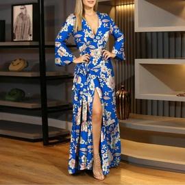 vestido largo de manga larga con estampado de cintura con cuello en V sexy de moda NSSUO53960