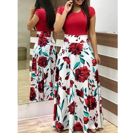 vestido largo de manga corta estampado con costuras a juego de color y cuello redondo NSSUO53965