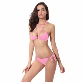 Fashion Plain Color Cross Strap Halter Bikini Swimsuit Set NSLUT53588