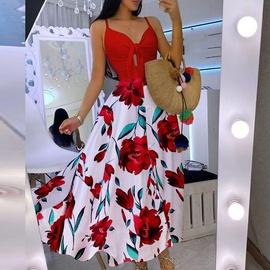 moda con cordones floral sexy honda gran columpio vestido largo NSSUO53969