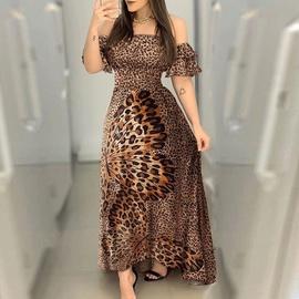 falda larga con hombros descubiertos y estampado de leopardo de mariposa NSSUO53970
