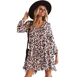 Long-sleeved Leopard Print High-neck Tied Dress NSMAN51343