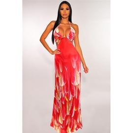 Feather Printed Long Skirt Suspender Dress NSMAN51352