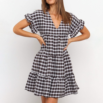 Plaid Ruffled Short-sleeved V-neck High-waist Dress NSMAN51371