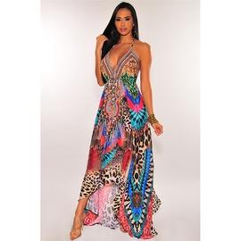 Retro V-neck Printed Suspender Dress NSMAN51373